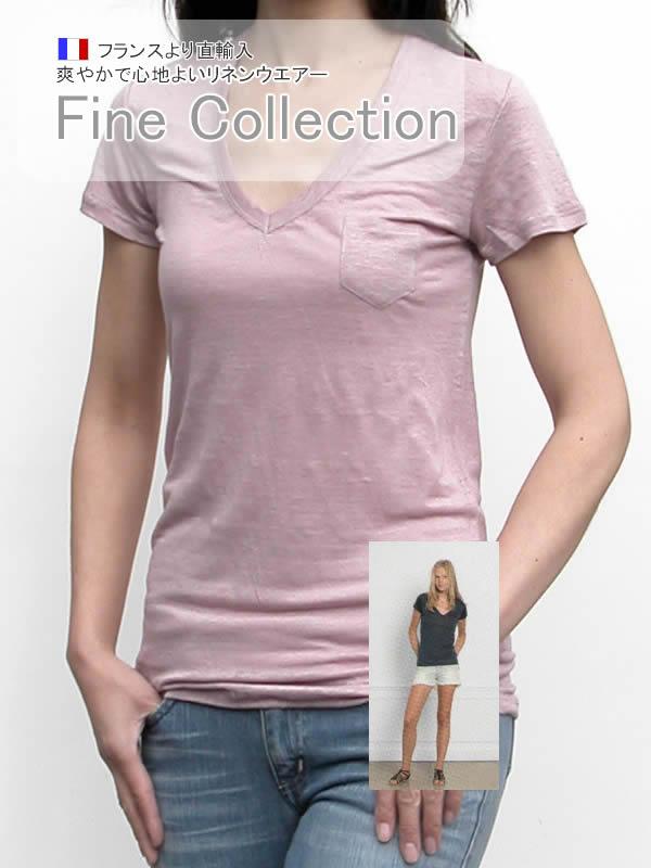 4f4de40d27ec32 リネンVネック半袖Tシャツ